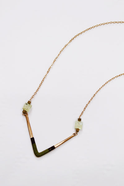 Olive Gold Long Necklace