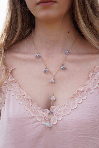 Flower Drop Y-Necklace