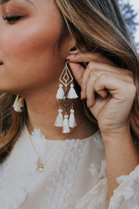 Diamond Link & Tassel Earrings