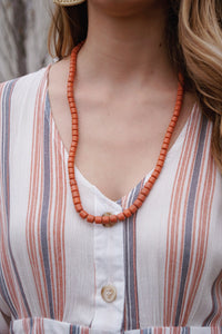 South African Coral Glass Necklace