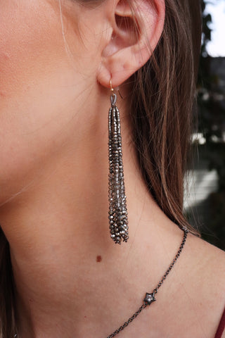 Mixed Bead Tassel Earrings