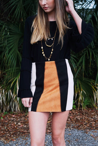 Suede Color Block Skirt