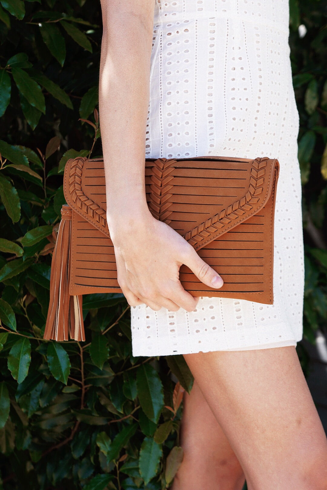 Brown Braid Accent Clutch