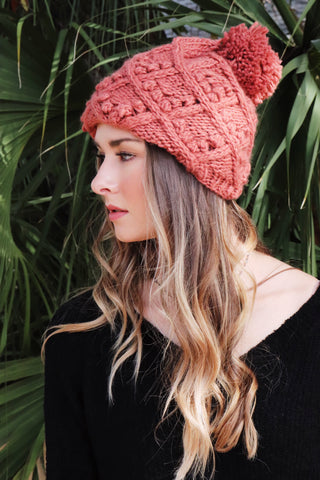 Cable Knit Pom Hat (Multiple Colors)