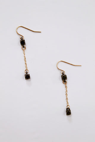 Hematite and Gold Earring