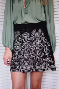 Embroidered Scallop Skirt
