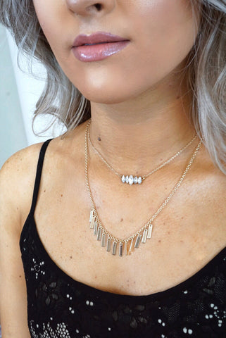 Rectangle Fringe Layered Necklace
