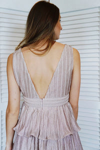 Tier & Pleat Rose Gold Midi Dress