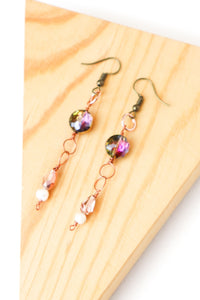 Wire & Multi Bead Bronze Earrings