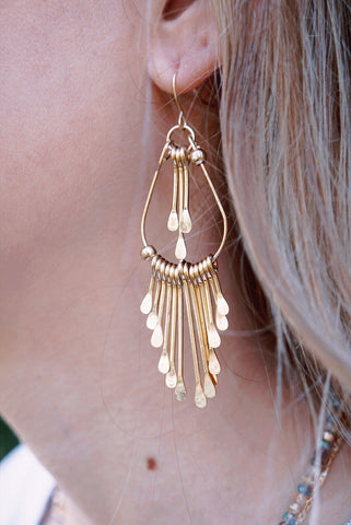 Teardrop Fringe Dangle Earring