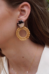 Tortoise & Rattan Earrings