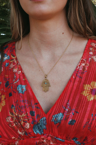 Large Hamsa & Stone Necklace