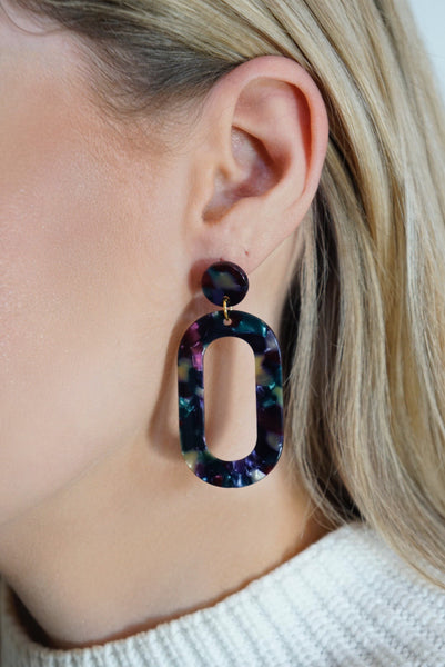 Oval Tortoise Earrings (Multiple Colors)