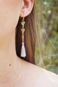 Tassel & Beaded Triangle Earrings