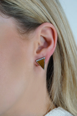 Tigers Eye Triangle Studs