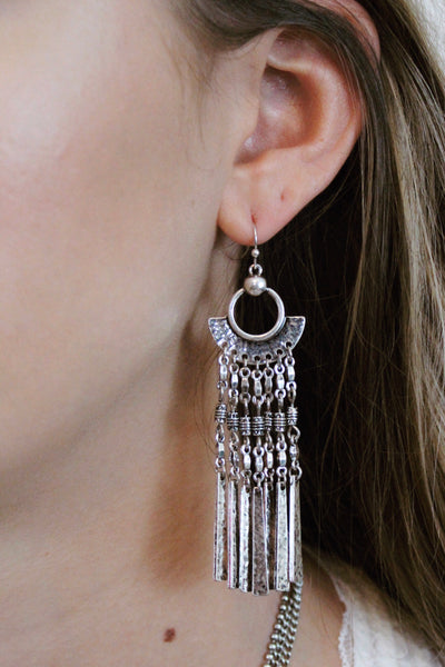 Geometric and Tassel Earring