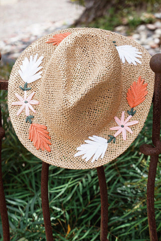 Floral Raffia Embroidered Hat