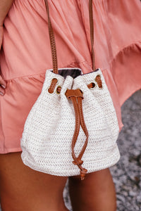 Ivory Straw Bucket Crossbody