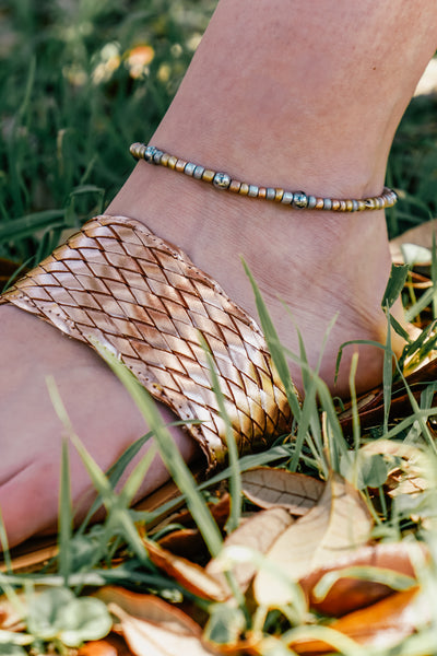 Tri-Toned Beaded Anklet