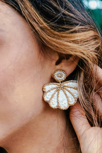 White Beaded Seashell Earrings