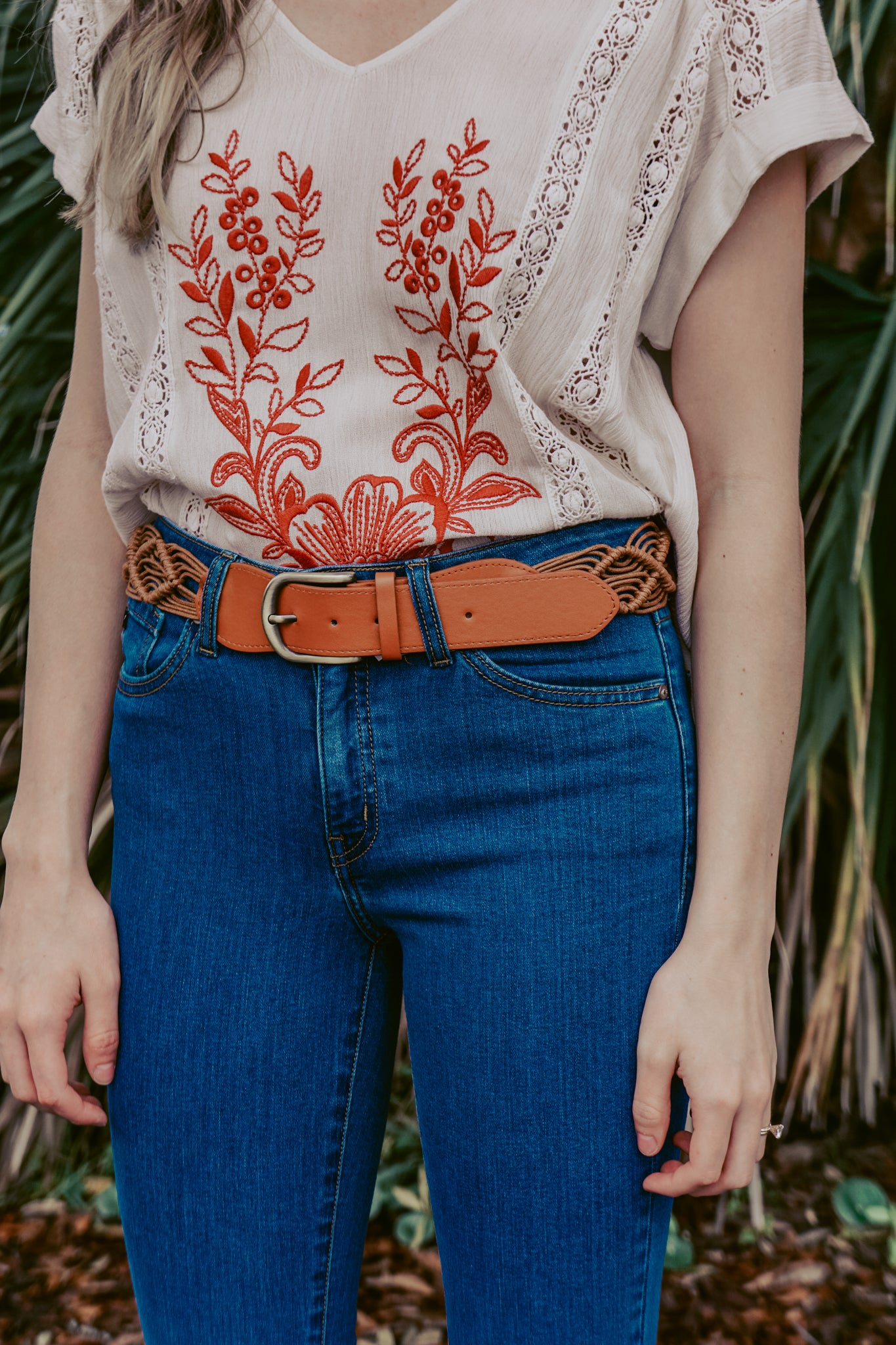 Woven Brown Crochet Belt