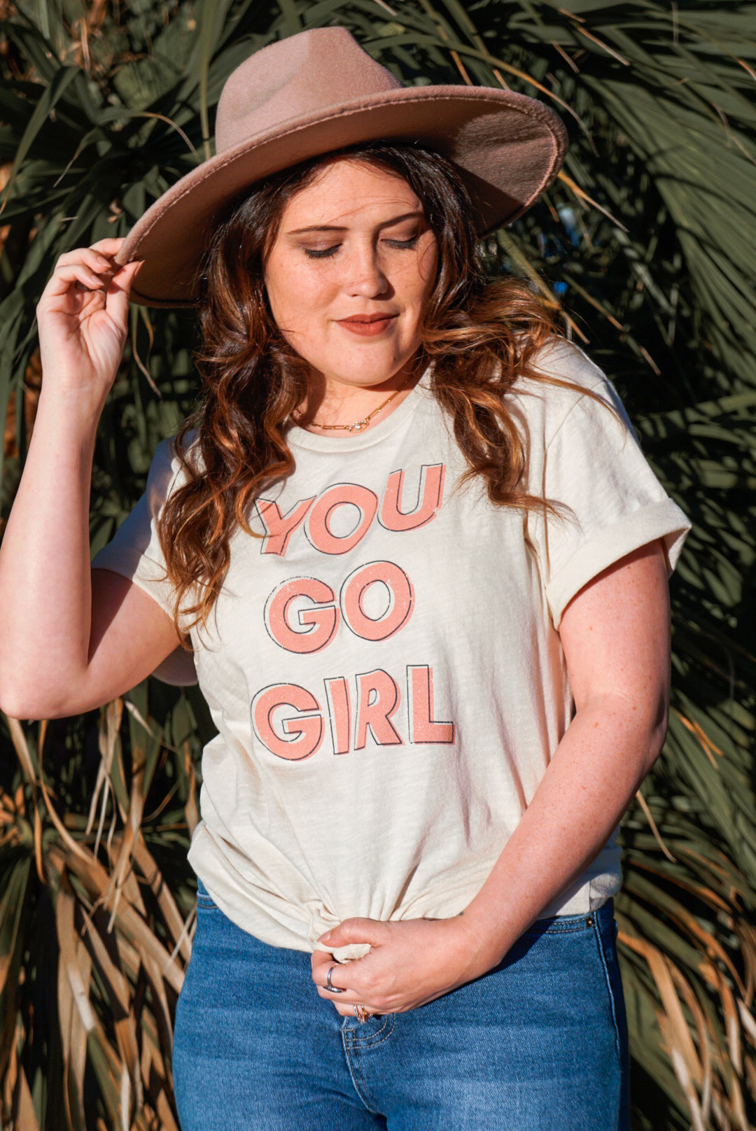 You Go Girl Cream Tee