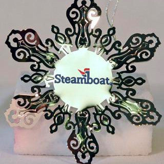 Official Steamboat Logo on Silver Snowflake Ornament
