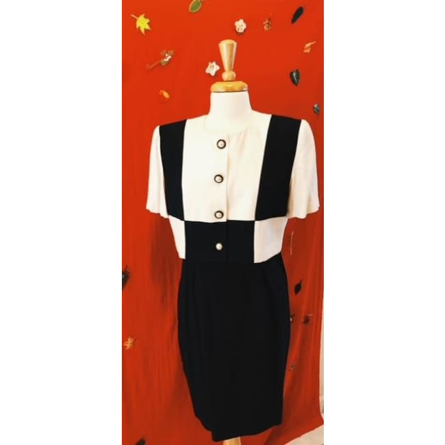Vintage-1980's-Black-and-White-Bold-Dress