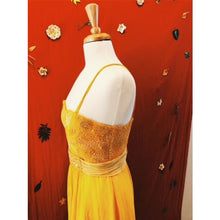 Vintage-1990's-Yellow-Beaded- Silk-Gown