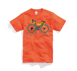 """ Keep climb & get drunk "" bikepacking T-shirts! Navy / Orange"