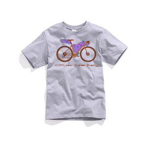""" OK, but coffee first"" bikepacking T-shirts! Green / Gray"
