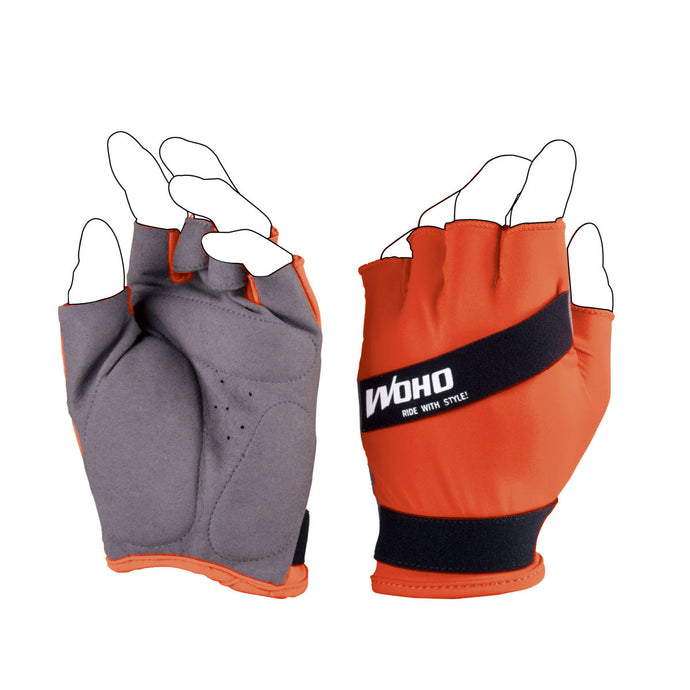 NINJA NINJA Shorts Finger Cycling Gloves Orange
