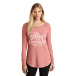 Pink Tunic, long sleeve with Be Strong and Courageous print