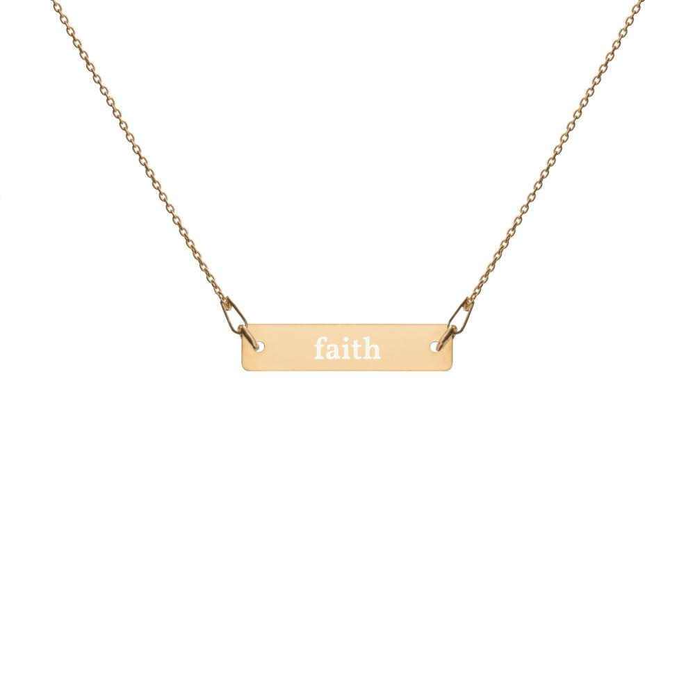 Faith Engraved Silver Bar Necklace