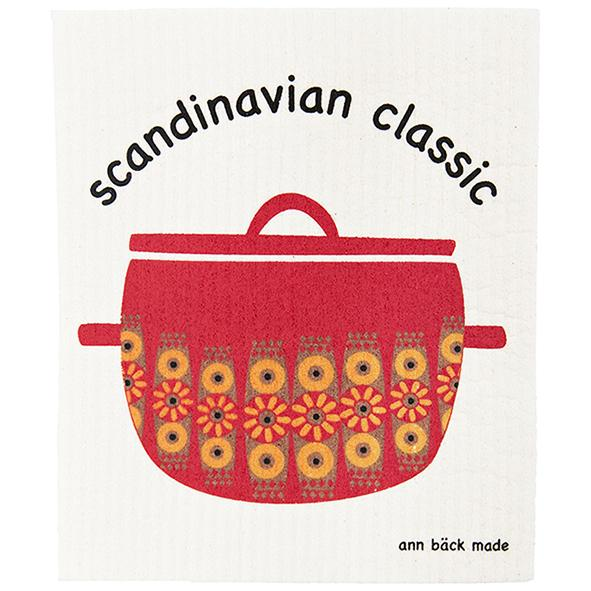 scandinavian classic, red enamel pot