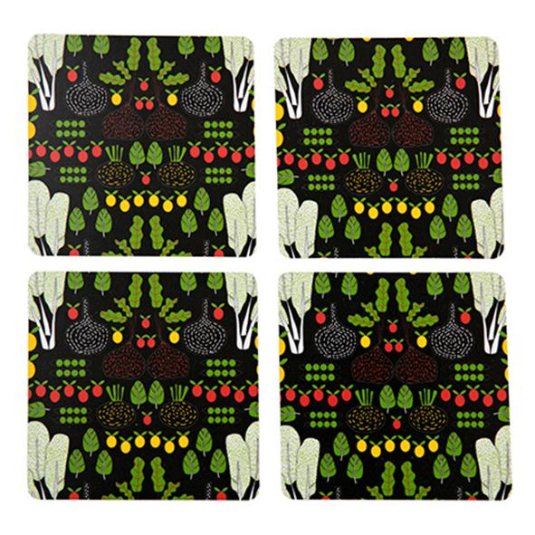 fruits and greens coaster, black