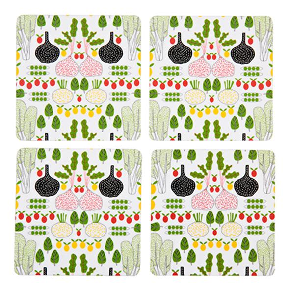fruits and greens coasters, white
