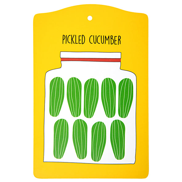 pickled cucumber cutting board, yellow