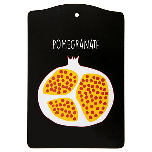 pomegranate, cutting board