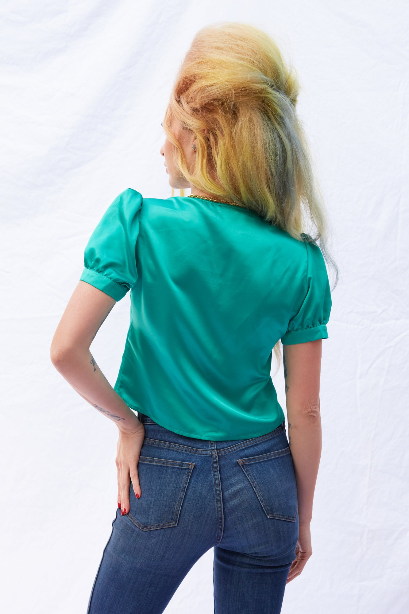 The Mary Jane Blouse (Blue Silk)