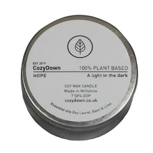 Load image into Gallery viewer, CozyDown Hope soy wax essential oil aromatherapy travel tin candle Bay Laurel Basil Lime