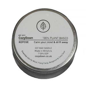 CozyDown Repose soy wax essential oil aromatherapy travel tin candle in Ho Wood, Ylang Ylang, Bergamot & Clary Sage