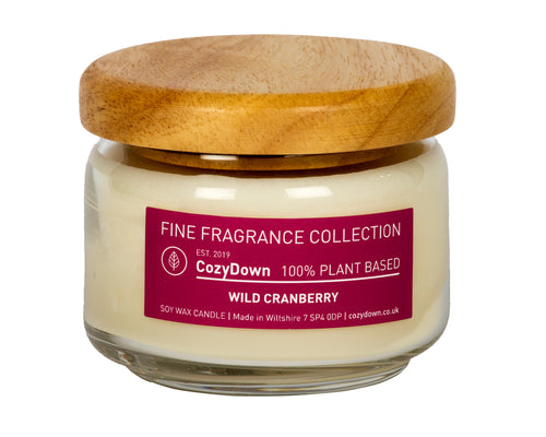 CozyDown Fine Fragrance Wild Cranberry Pop Jar in 35cl recycled glass with a wooden