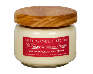 "CozyDown Fine Fragrance Collection Tahitian Vanilla & Chilli Pepper 35cl Pop Jar in recycleld glass with a wooden ""pop"" lid. Contains highest quality natural aromas with 100% plant wax.  Contains soy wax. This is a VEGAN product"