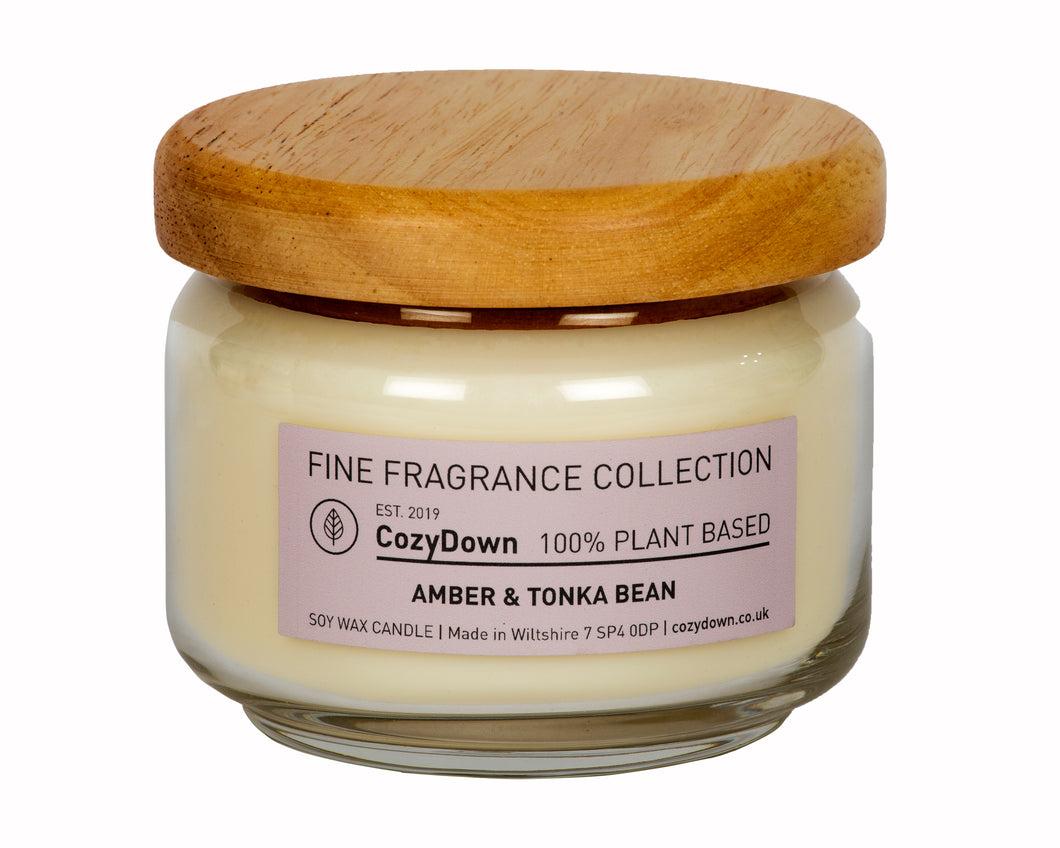 CozyDown Fine Fragrance Amber & Tonka Bean 35cl Pop Jar in recycled glass with a wooden