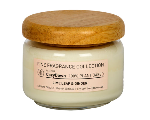 CozyDown Fine Fragrance Collection, Lime Leaf & Ginger Pop Jar 35cl. made with pure 100% plant based soy wax and highest quality natural aromas in recycled glass with a wooden