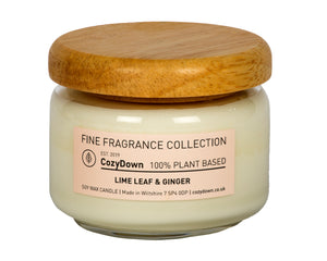 "CozyDown Fine Fragrance Collection, Lime Leaf & Ginger Pop Jar 35cl. made with pure 100% plant based soy wax and highest quality natural aromas in recycled glass with a wooden ""pop"" lid"