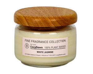 "CozyDown Fine Fragrance Collection White Jasmine Pop Jar 35cl Made with 100% pure plant wax with highest quality natural White Jasmine aroma.  Contained within recycled glass with a wooden ""pop"" lid.  It has a burn time of up to 60 hours. It is a VEGAN product"