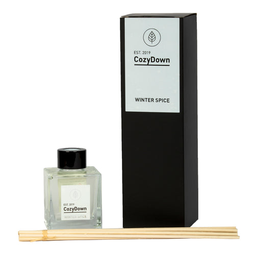 CozyDown Natural Rattan Reed Diffuser. Winter Spice. Seasonal essential oil blend of orange, cinnamon and clove. alcohol and VOC free. natural vegetable oil base. non flammable
