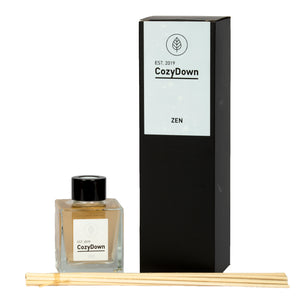 CozyDown's Zen natural rattan reed diffuser contains rose geranium essential oil in a vegetable base oil.  VOC and alcohol free. Non flammable.